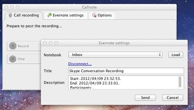 Callnote send